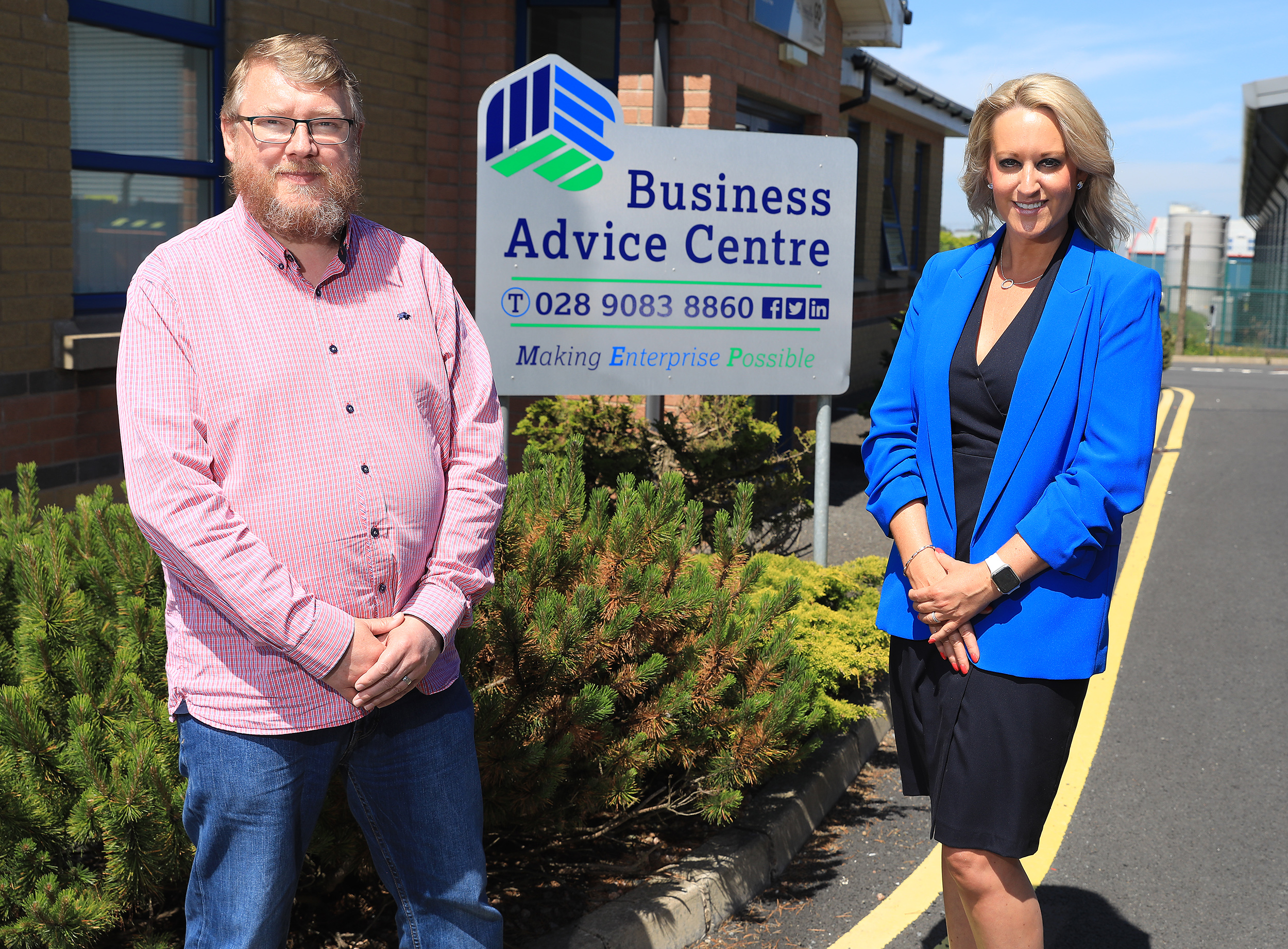 Chairman of Mallusk Enterprise Park Iain Patterson with Chief Executive of the local enterprise agency in antrim and newtownabbey borough council Emma Garrett pictured outside the business advice centre in Mallusk